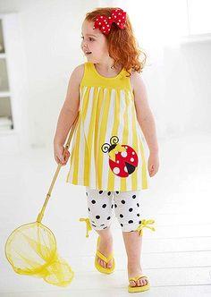e9fdbd4fa LITTLE MISS SUNSHINE · Peaches n Cream Yellow White Lovely LADYBUG Capri  set Girls (sz 2T-6x) · Sewing Baby ClothesBaby ...