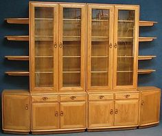 Ercol Elm Windsor Large Wall / Shelf Unit / Glazed Display Cabinets On Cupboards & Our Ercol Plate Rack | * HOME IDEAS | Pinterest | Plate racks and ...