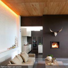 Ein Besonderer Eyecatcher Im Wohnzimmer Ist Dieses Stylische Geweih über  Dem Kamin, Welches Dem Modernen