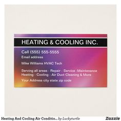 Heating And Air Conditioning Business Card Heating And