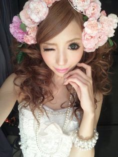 [ • gyaru - makeup - flowers - hime • ]