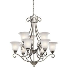 Buy the Kichler Brushed Nickel Direct. Shop for the Kichler Brushed Nickel Camerena 9 Light Wide Chandelier with Scavo Glass Shades and save. Chandelier Ceiling Lights, Chandelier Shades, Hanging Lights, Hallway Chandelier, Brushed Nickel Chandelier, Design Page, Design Ideas, Light Shades, Glass Shades