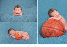 Newborn baby boy with basketball | Brittany Adams Photography