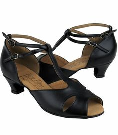 salsa-shoes- 1.3 inch - really like these.  This site is a great resource of lower heel dance shoes.