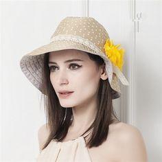 Cotton bucket sun hat for women with flower wear in summer