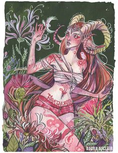 """""""Aries"""" Original gouache, watercolour and ink painting.  Size:9"""" x 12""""  2016  ► First piece of a 12 part zodiac series.  ► On rough toothed medium thickness watercolour paper. The paper edges are raw. Signature on the back unless requested on the front as well.  ► Please note that the co..."""