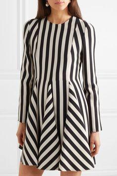 77f6a0492d Valentino - Striped wool and silk-blend mini dress