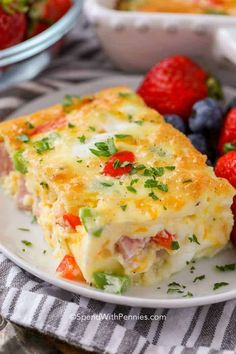 This Denver egg casserole is easy to make with ham, peppers and onions baked in a fluffy egg mixture! This Denver egg casserole is easy to make with ham, peppers and onions baked in a fluffy egg mixture! Vegetarian Egg Casserole, Ham And Egg Casserole, Casserole Recipes, Ham Egg Bake, Banana Breakfast Cookie, Breakfast Dishes, Breakfast Recipes, Breakfast Egg Bake, Zucchini Breakfast