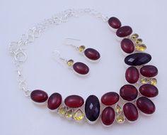 123-Gr Brown Chalceony-Garnet-Citrine .925 Silver Handmade Jewelry Necklace (f-142) by PINKCITYGEMS on Etsy