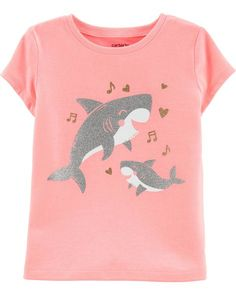 Baby Girl Neon Glitter Baby Shark Jersey Tee from Carters.com. Shop clothing & accessories from a trusted name in kids, toddlers, and baby clothes. Baby Girl Shirts, Baby Girl Tops, Carters Baby Girl, Shirts For Girls, Toddler Girl, Baby Baby, Baby Girls, Toddler Outfits, Kids Outfits