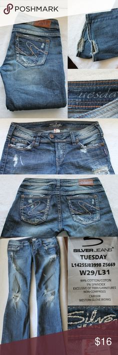 Details about Silver Jeans Tuesday cut Size W 28 L 30 distressed ...