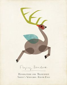 Flying Reindeer Illustration from the mid-century modern inspired Santa's Modern Workshop Collection by Amy Sullivan Scandi Christmas, Modern Christmas, Christmas Treats, Christmas Cards, Christmas Graphic Design, Retro Images, Christmas Graphics, The Night Before Christmas, Illustrations