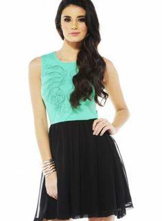 b287af1d9c3f4 Green and Black Chiffon Color Block Skater Dress, Dress, color block dress  sleeveless,