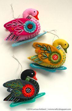 Swan a-Swimming PDF pattern for a hand sewn wool felt от mmmcrafts