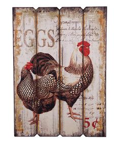 Chicken Kitchen Wall Decor shouting rooster- original artwork mixed media, hand painted on