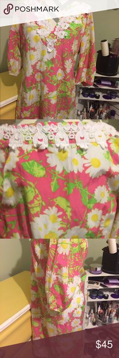 """Lilly Pulitzer dress Great condition colors still vibrant. Bust measures 21"""" waist 18"""" length 37"""" Lilly Pulitzer Dresses"""