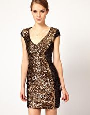 Contrast Sequin Panel Dress