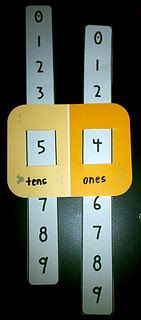 Place value activity.  Use with 4-5 section paint chips for higher place value!