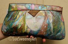 Hand Painted Bag Retro 80's Leather Clutch SUES by SueSweeneyArt, $98.00