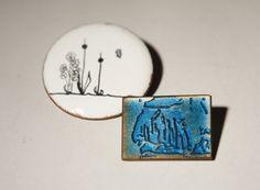 Québec émail broche Set - eau roseaux fleur - noir bleu blanc - au milieu du siècle - Studio cuivre Artisan Pins - 1970