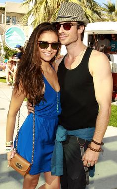 Nina Dobrev & Ian Somerhalder. They would make a good Christian and Ana if they weren't already cast on TVD together. :(