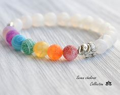 8 mm Chakra Bracelet Yoga Jewelry Mala Beads by SevenChakrasShop