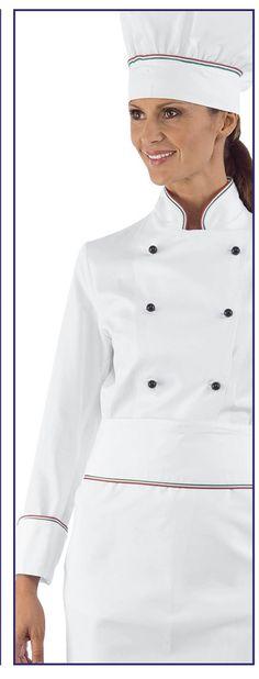 Giacca Cuoco Donna Chef Lady Italy+Bianco Cotone de9a3da5fdaf