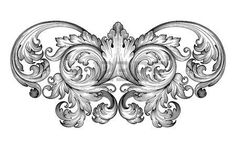 motif baroque: Vintage baroque défilement leaf frame ornement floral Gravure frontière rétro modèle tourbillon de style ancien élément de design décoratif vecteur de filigrane noir et blanc