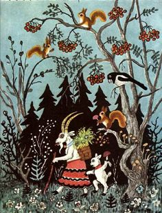 This reminds me of something from childhood...a Christmas goat? Also, there is a magpie. Vasnetsov, 1956