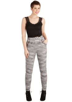 Statement of Mind Pants. You have the look in mind that you want to rock tonight as you catch some live music, and its all centered around these black and white high-waisted pants!  #modcloth