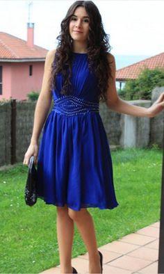 Royal Blue Beaded Strapless Homecoming Dress,Chiffon Sexy Short