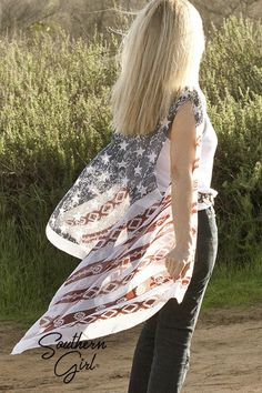 Shop Southern Girl's Indian Print American Flag Kimono Wraps, American Flag Jackets, Tanks & Tees. We have a wide variety to show your Patriotic Pride. FREE SHIPPING over $75 Southern Girl Outfits, Southern Girls, Blue Kimono, Kimono Top, Indian Prints, Outfits For Teens, Gorgeous Women, American Flag, Flags