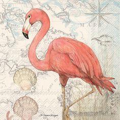 Flamingo NAPKINS, Coastal Napkins, Beach Napkins, Florida Napkins, Seashore Napkin, Seaside Napkins, Tropical Napkins, Seashell Napkins by PaperNapkinsShop on Etsy