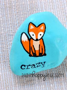 Rock Painting Ideas | Crazy Like a Fox Painted Rocks at PaintHappyRocks.com #PaintHappy #PaintHappyRocks #RockPainting #PaintedStones