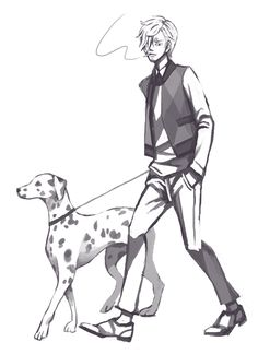 The Strawhats with their dogs: Sanji & a dalmatian (by hazelisque on tumblr)