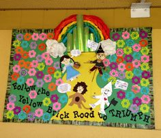 Bulletin board idea featuring the Wizard of Oz! After a unit and field trip on the Wizard of Oz this bulletin board was created to reinforce what was learned.  Have the kids write inspirational quotes on the flowers to include each child in the bulletin board!