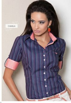 Camisa Feminina Principessa Camila Formal Blouses, Formal Shirts, Sexy Outfits, Casual Outfits, Work Wear Office, Costumes Couture, Sewing Shirts, Fashion 2017, Fashion Men