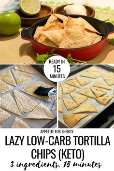 Lazy Low-Carb Tortilla Chips You'll love this brilliant 3 ingredient recipe hack for making crunchy, low-carb tortilla chips. Dip healthy tortilla chips into guacamole, serve with hot, cheesy, beef nachos or top with your favorite cheese. This easy recipe Healthy Low Carb Recipes, Low Carb Dinner Recipes, Keto Recipes, Keto Chia Seed Recipes, Low Carb Appetizers, Healthy Tortilla Chips, Healthy Chips, Low Carb Tortilla Chips Recipe, Homemade Tortilla Chips