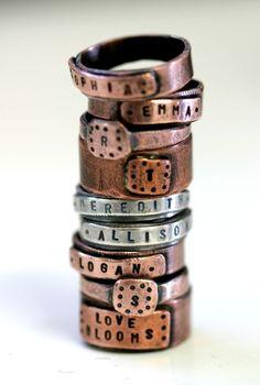 Personalized Custom Name Band Ring Copper by monkeysalwayslook, $ 46.00 monkeysalwayslookshop.com