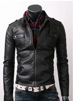 MAGCOMSEN Mens Mens Vintage Pu Faux Leather Jacket with 6 Pockets Stand Collar Motorcycle PU Leather Outwear Coat