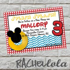 Mickey Mouse Pool Party Birthday Invitation by Rachellola on Etsy, $10.00
