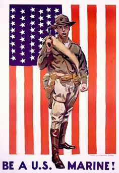 Be A US Marine US Flag In Fight Always Faithful - Mad Men Art: The 1891-1970 Vintage Advertisement Art Collection
