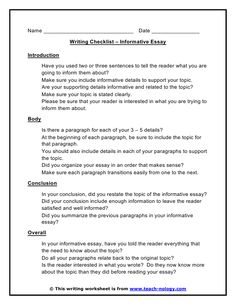 With a view to write an informative essay, it is very important think about the logical sequence whereas mentioning the factors. An informative essay affords no Essay Writing Skills, Narrative Essay, Academic Writing, Writing Worksheets, Writing Resources, Argumentative Essay Topics, Writing Checklist, Essay Structure, Informative Essay