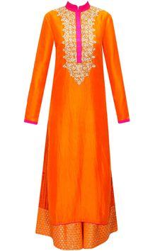 Orange embroidered kurta with shibori printed pants by Vikram Phadnis. Shop now: http://www.perniaspopupshop.com/designers/vikram-phadnis #kurta #vikramphadnis #shibori #perniaspopupshop #shopnow #happyshopping