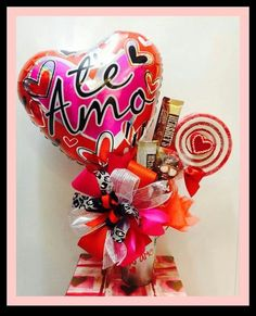 Yhh Minnie Mouse Balloons, Heart Crafts, Candy Bouquet, Love Heart, 4th Of July Wreath, Gift Baskets, Valentine Day Gifts, Centerpieces, Romantic