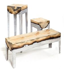 Aluminum resin tables molded directly onto logs!