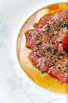 Nobu New Style Beef Sashimi, Nobu Ume Plate, by Nobu Butapest.