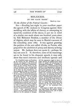 Sidi Mehemet Ibrahim on the Slave Trade