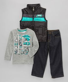 Look what I found on #zulily! Navy Zip-Up Vest Set - Infant & Toddler by Longstreet #zulilyfinds
