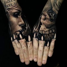 Awesome black and grey Hand tattoos art works done by tattoo artist Jack Connolly